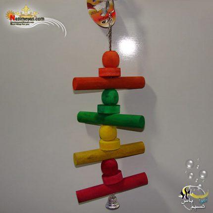 اسباب بازی پرنده چوب و زنجیر زنگوله دار کد 1022