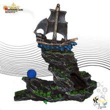 دکور آکواریوم طرح صخره و قایق سنگ هوا دار کد 207